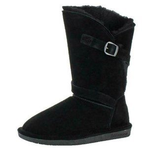 BearPaw Winter Boots Black Suede Sz 10 Sheepskin